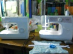 sewing with my cousin